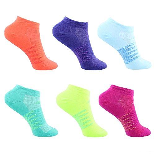 New Balance Childrens No Show Socks (6 Pack), White/Purple/Blue/Green/Yellow/Orange/Pink, Shoe Size 9.5-3