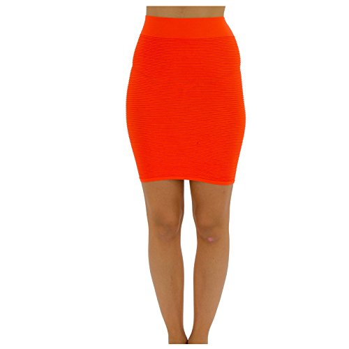 TD Collections Bandage Bodycon Mini Knit Basic Stretch Short Pencil Skirt Thin LINE Skirt (One Size, Neon Orange)