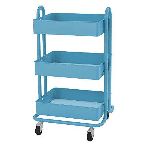 ECR4Kids 4 Tier Metal Rolling Utility Cart   Heavy Duty Mobile Storage  Organizer, Turquoise Office Supplies Office Carts