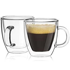JoyJolt Savor Double Wall Insulated Glasses Espresso Mugs (Set of 2) – 5.4-Ounces