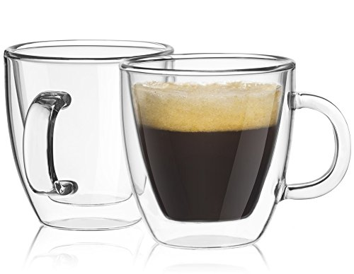 JoyJolt Savor Double Wall Insulated glasses Espresso Mugs Set of 2, - Sunset Over Glass