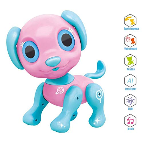 Electronic Pet Toy, Smart Robot Dog ~ Interactive Puppy Toys for Age 3 4 5 6 7 8 Year Old Girls, Gifts Idea for Kids ● Emotional Interaction (Pink)