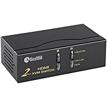 Sea Wit KVM Switch, 2 Port HDMI KVM Switch with Cable Kit and Supports EDID HDCP 1080p 3D and Auto Scan,for Windows /XP/Vista Linux and Mac- 2 in 1 out
