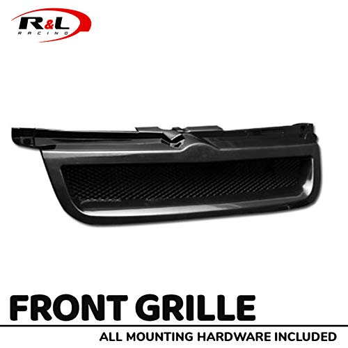 (R&L Racing Black Finished Front Grill Aluminum Mesh Badgeless Hood Bumper Grille 1999-2005 for Volkswagen Jetta/Bora MK4)