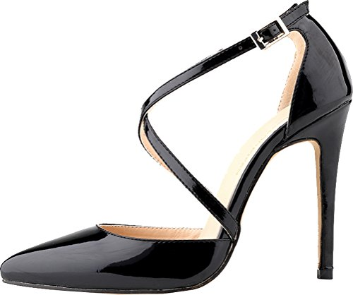 CFP YSE-302-12QP Womens Non Skid Pretty Fresh Ponity Toe Slim Spike High Heel Ankle X-Strap Snug Office Sandals Charm Pretty Stilettos Simple Easy Business Party Buckle Sturdy Black