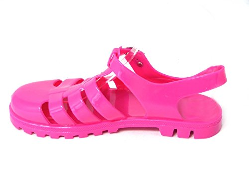 SKO'S Womens Girls Kids Low Mid Block Heel Rubber Jelly Gladiator Cut Out Retro Sandals Shoes Size Fuisha (60) p9KBG134w