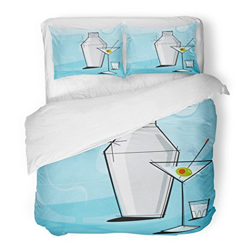 SanChic Duvet Cover Set Retro Martini Vignette Shaker Shot Glass Each Item is Grouped So You Them Independently from The Decorative Bedding Set Pillow Sham Twin Size