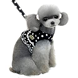 SMALLLEE_Lucky_Store Small Dog Cat Sweet Dots Pattern Vest Harness Leash Set Mesh Padded Lead Black S