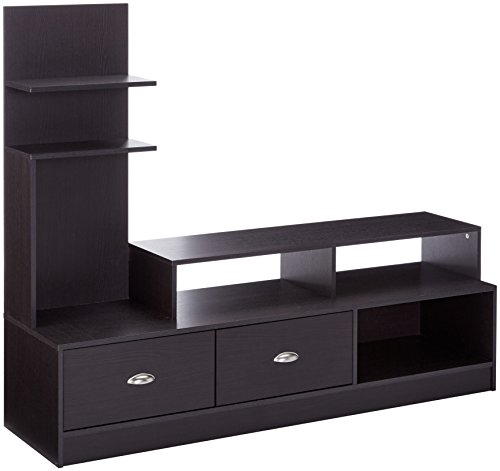 Baxton Studio Armstrong Modern TV Stand with Built-In Vertical Side Console, Dark Brown