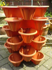 4 X Stacking Herb Strawberry Planter Garden Flowers Plants 4 Section