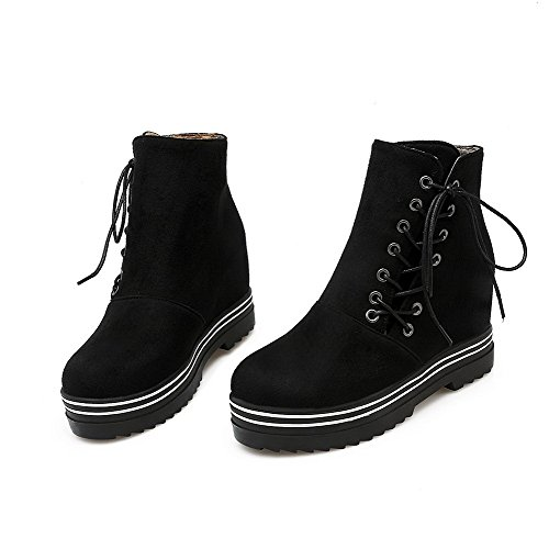 AmoonyFashion Womens High-Heels Solid Round Closed Toe Frosted Lace-Up Boots Black MJc5L1k