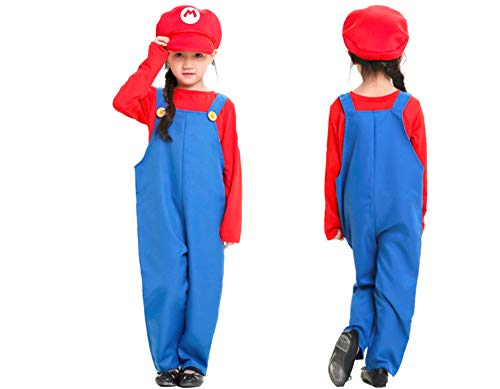 Mitef Unisex Super Mario Luigi Brothers Cosplay Costume for Child, Red, M