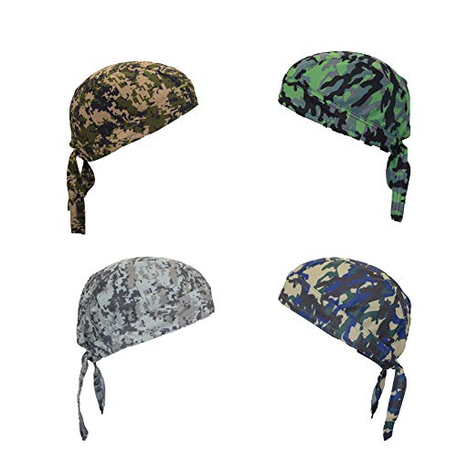ransiy 4 Packs Camo Skull Cap Head Wraps Biker Dew Rag Beanie Cap Hat Chemo Cap for Men and Women