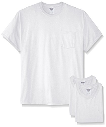 Jerzees Men's Adult Short Sleeve Pocket Tee 3 Pack, White, Large