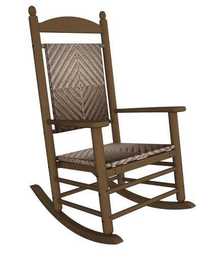 (Rocker Jefferson Woven Chair Frame Finish: Teak, Seat/Back Finish: White Loom)
