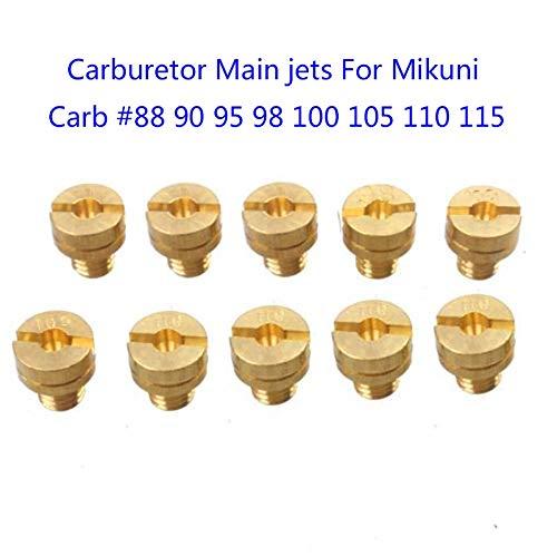 10pcs//Set Gold Carburetor Main Jets for Mikuni VM22 VM24 VM26 125cc 150cc 200cc 250cc Dirt Pit Bike M5x0.75mm Main Jets Ponis-Limos