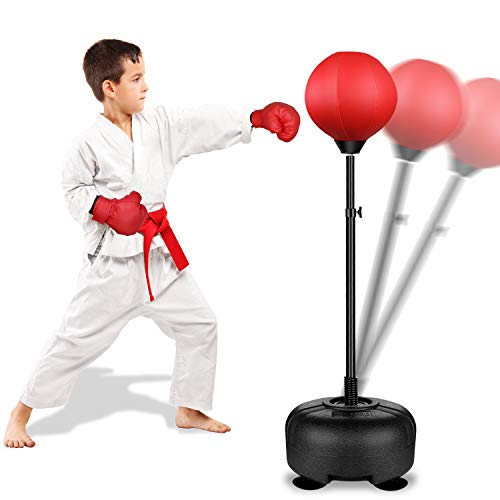 Image of the Rovtop Kids Punching Bag for Kids - Boxing Set with Thicker PVC Punching Bag, Adjustable Stand with Stronger Spring, and Boxing Gloves, Toys Gifts for Age 4 5 6 7 8 and Up Years Old Boys Girls