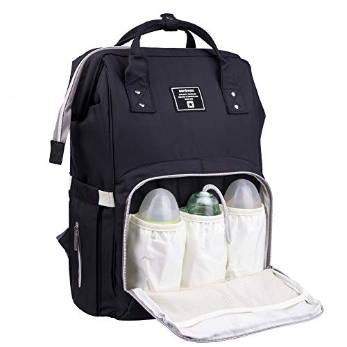 - Baby Diaper Bag Backpack Multi-Function Waterproof Travel Nappy Tote Bags Large Capacity Creative Fashion Package For Both Mon&Dad//Black
