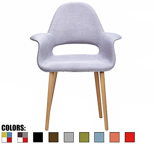 2xhome - Light Grey - Upholstered Organic Arm Chair Armchair Fabric Chair Gray with Light brown Natural Wood Leg Dining Room Chair With arm Modern - Gray Natural Wood