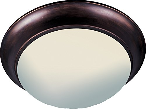 Maxim 5852FTOI Essentials 3-Light Flush Mount, Oil Rubbed Bronze Finish, Frosted Glass, MB Incandescent Incandescent Bulb , 25W Max., Dry Safety Rating, 2900K Color Temp, Standard Dimmable, Glass Rod Shade Material, 2880 Rated Lumens