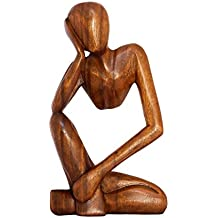 "G6 COLLECTION 12"" Abstract Sculpture Statue Wooden Handmade Handcrafted Art ""Thinking Man"" Home Decor (Brown)"