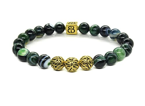 Green Striped Agate and Antique Gold Plated Bali Beads Bracelet, Gold Beads Bracelet