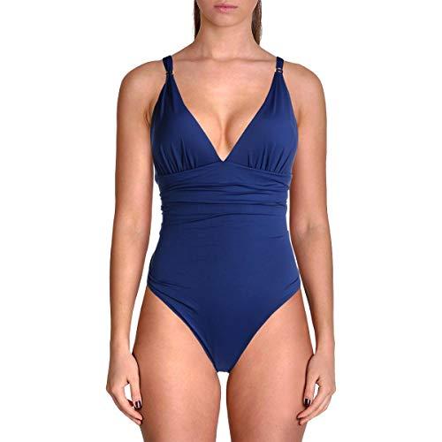 - Lauren Ralph Lauren Women's Beach Club Solids Slimming Fit Corset One-Piece Indigo 14