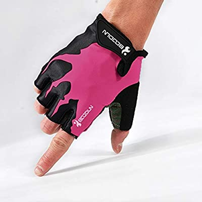Guantes de ciclismo de bicicleta de absorción de choque antideslizante for bicicleta al aire libre Nueva vida canción medio dedo montando guantes s guantes (Color : Black rose, Size : M): Amazon.es: