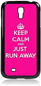 Keep Calm And Just Run Away-Pink and White-Samsung Galaxy S4 I9500 - Hard black plastic snap on case. WANGJING JINDA