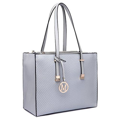 Miss Lulu Square Faux Leather Shoulder Handbag Adjustable Handle Large Tote Bag In Grey(6636 Grey)
