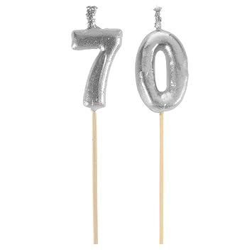 FIESTA Picos Velas Feliz Cumpleaños Dinero 70 años (3,5 x 8 ...