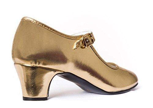 Happy Dance 577042 - Zapatos de flamenco para principiante, con hebilla, para mujer Oro