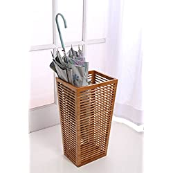 "Rustic Open Slats Entry-way Umbrella and Walking Canes Storage 8.5"" X 10.4"" X 20"" H (w/ cast iron drip pan)"