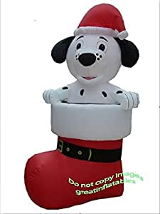 Gemmy Airblown Inflatable Dalmatian Puppy Dog Wearing a Santa Hat in a Christmas Boot/ Stocking - Holiday Decoration, 7-foot Tall