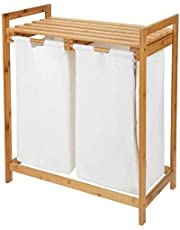SortWise Bamboo Laundry Hamper with Top Storage Shelf, 2 Section Upgraded Removable Bags, Large Capacity, Great for Closet, Bedroom, Living Room, Entryway