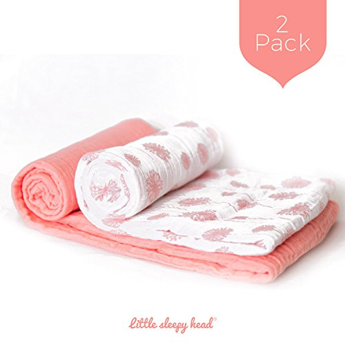 Anais Bamboo Crib Sheet (Little Sleepy Head Baby Swaddle Blanket Set - Coral Wishes - 2 Pack)