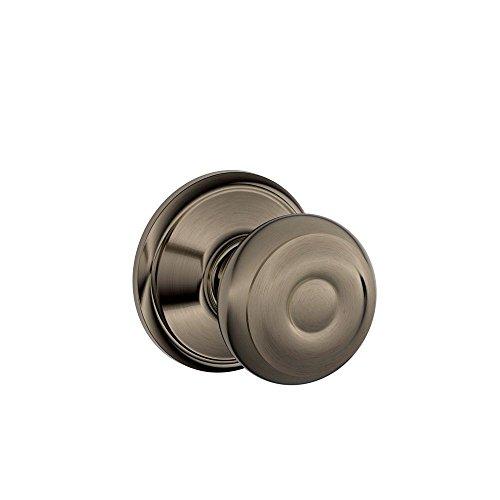 (Schlage F10GEO620 Georgian F10 Round Door Knob Lock, Solid, Antique)