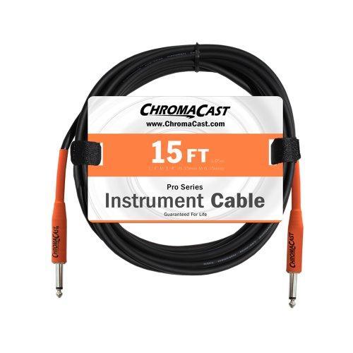 ChromaCast Sunset Orange 15-Feet Pro Series Instrument Cable, Straight (CC-PSCBLSS-15SOR)