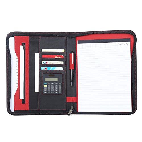 Leathario Portfolio A4 File Folder Padfolio Writing Pad Business Presentation Folder PU Black by Leathario