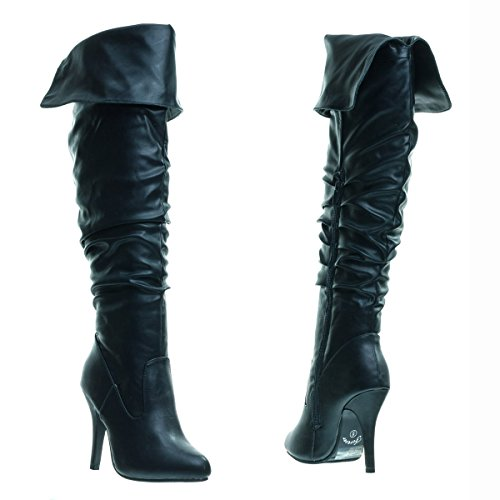 Forever Link High heel Stretch Wrinkled Slouchy Dress Boots. Over-The-Knee Thigh High Black 7Uktpp