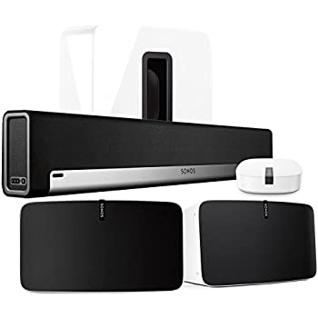 Sonos Multi-Room Digital Music System Bundle (PLAYBAR, (2) PLAY:5 Speakers - White, Wireless Subwoofer - White, and BOOST)