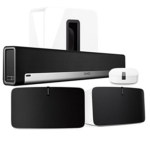 Sonos Multi-Room Digital Music System Bundle (PLAYBAR, (2) PLAY:5 Speakers - White, Wireless Subwoofer - White, and BOOST) (Sonos Surround)