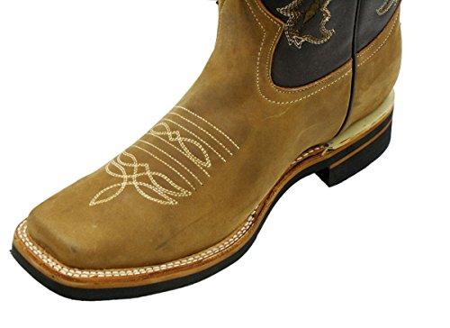 Dona Michi Uomini In Vera Pelle Bovina Punta Quadrata Stivali Da Cowboy Occidentali Meil Marrone