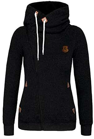 XQS Women Fashion Hooded Sweatshirt Cardigan Black XS
