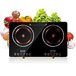 Jukmen Double Induction Cooktop - Portable Digital Burner Ceramic Cooker Kids Safety Lock - Works with Flat Cast Iron…