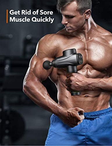 Massage Gun TaoTronics Professional Deep Tissue Muscle Massager Gun Percussion Handheld Electric Muscle Massager with 10 Speed Levels 6 Massage Heads for Gym Office Home Post-Workout Recovery