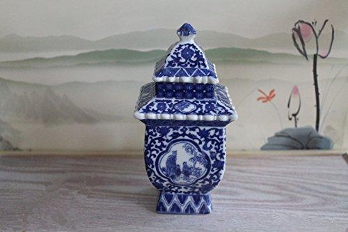 Blue and White Ceramic Urn Fine Chinese Porcelain Temple / Spice Jar 2.5 × 2.5 × 6.1 Inches (blue and white 24) Fine Ceramic Urn