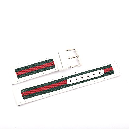Genuine Leather Watchband Strap for brand 22MM Watches Replacement Nylon Men Wristband Belt Bracelet(white) (Gucci White Bracelet)