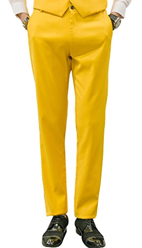 MOGU Mens Slim Fit Front Flat Casual Pants US Size 34 Yellow (Yellow Pants Men)