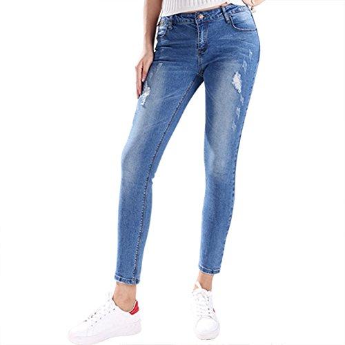 Phillip Flor Women Ripped Jeans Pencil Pants Stretch Denim Slim Jeans Light blue 26 (Quirky Fancy Dress Ideas)